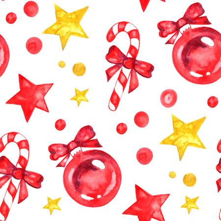 Aquarel Christmas New Yea decoraties sterren snoep naadloze patroon. Hand getrokken illustratie. Stockfoto