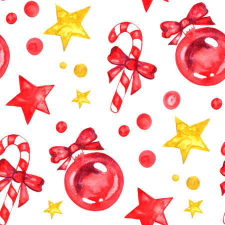Watercolor Christmas New Yea decorations stars candy seamless pattern. Hand drawn illustration.