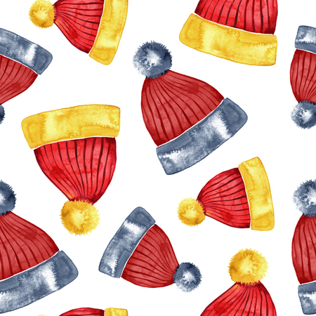 xmax: Hand drawn watercolor red winter hat seamless pattern.