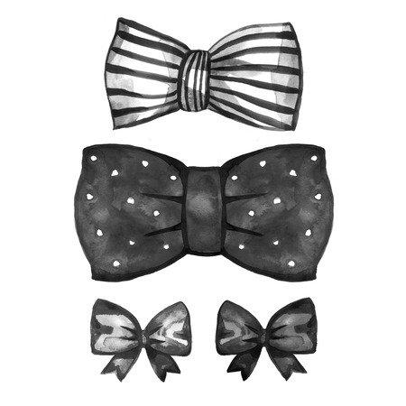 black satin: Watercolor retro satin black gift bow collection. Ribbon. Isolated on white