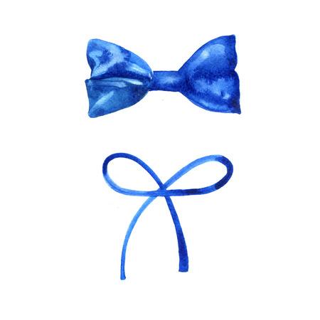 Set of beautiful hand drawn watercolor blue ribbons. Drawn by hand.