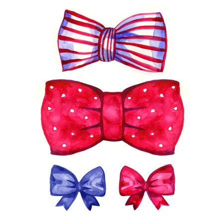 Set of watercolor bows, illustration on white background. Stock Photo