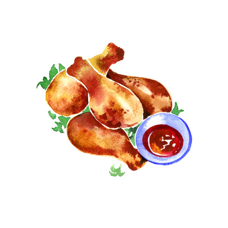watercolor tasty chicken fried on a white background
