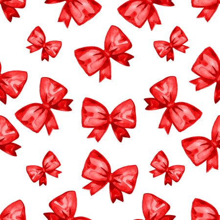 hands tied: Watercolor red satin bow seamless pattern. Hand painted illustration. Isolated on white