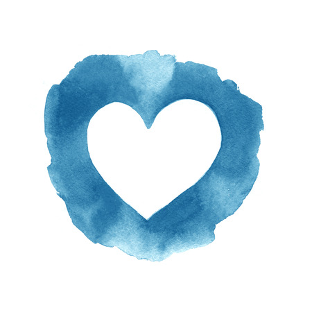 Aquarell abstrakte blaue Herz-Rahmen auf weißem Hintergrund gemalt.