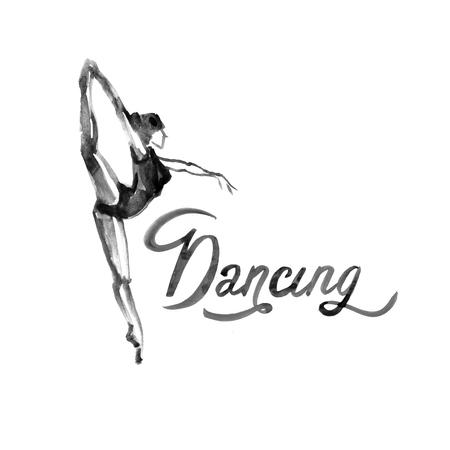 Watercolor illustration ballerina icon in dance. Design poster ballet school, dance studio Stock Photo