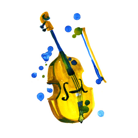 Watercolor violin isolated. Painted design element. Music, classic creation