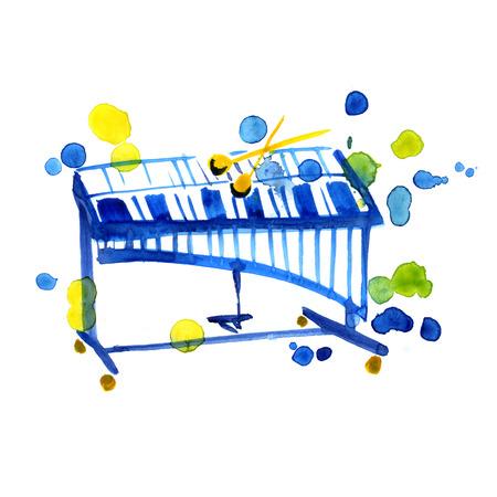 xilofono: bosquejo de la acuarela de xilófono en el fondo blanco