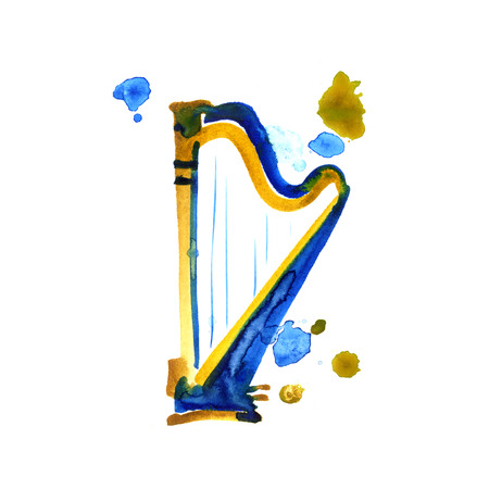 Isolated watercolor harp on white background. Beautiful classic instrument.