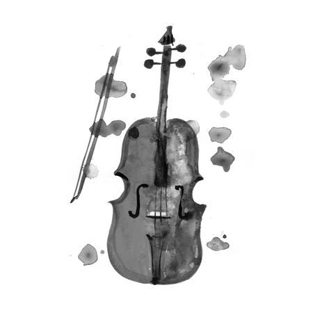Watercolor violin on the white background, aquarelle. Hand-drawn decorative element useful for invitations, scrapbooking, design. Classical and modern music