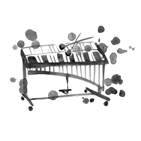 watercolor sketch of xylophone on white background