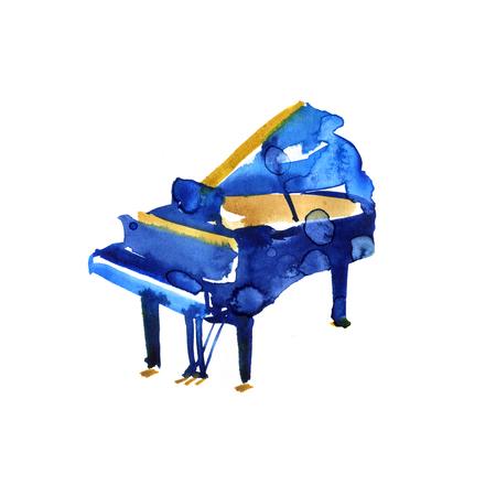 흰색 배경에 스케치 수채화 그랜드 피아노