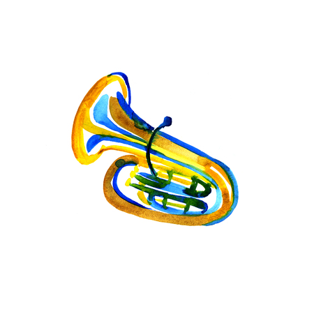 tuba: Watercolor copper brass band tuba on white background Stock Photo