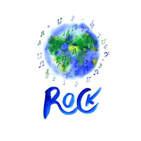 walkman: musical rock planet over white background illustration on white Stock Photo