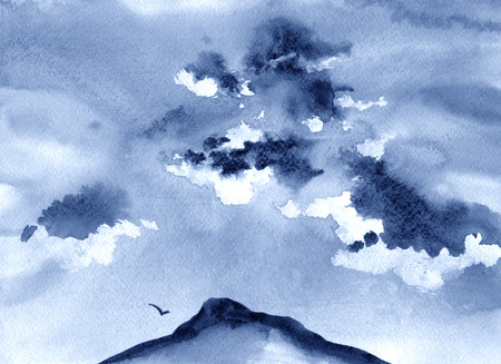 himalayas: Watercolor illustration of mountains, clouds and bird