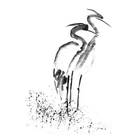 아름 다운 용감한 황새 헤론 크레인 사랑입니다. 고대의 단색 검정 잉크입니다. 일본 화 Sumi-e.