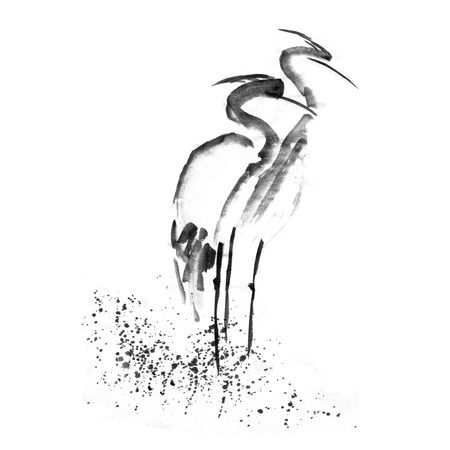 asian family: Beautiful gallant stork Heron crane love. Ancient monochrome black ink. Japanese painting sumi-e.