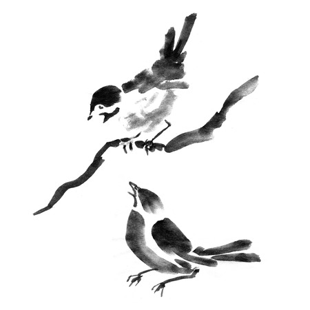 Sumi-e ink collection of birds. Watercolor painting