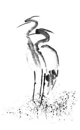 Beautiful gallant stork Heron crane love. Black ink. Japanese painting sumi-e.