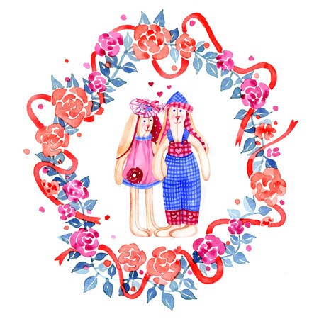 Cute Valentine hares. Boy and girl. A couple of lovers rabbits on floral wreath Stock Photo