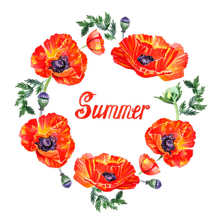 Wildflower poppy flower wreath in watercolor style isolated. Summer lettering.