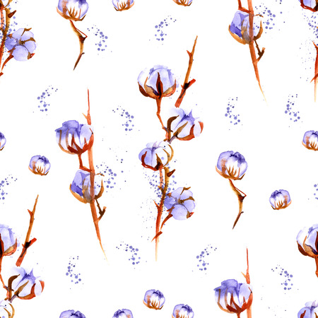 boll: Cotton plant branches. Watercolor repeating seamless pattern. Stock Photo