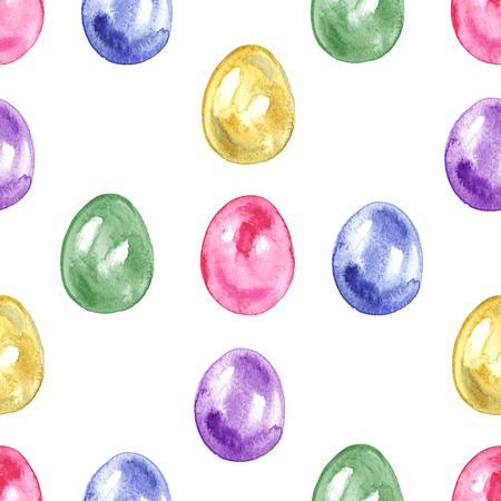 Seamless easter pattern with eggs on white background. Stock Photo