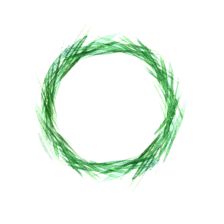 Wheat in a circle, wheat grass green watercolor. Easter design. Stock Photo