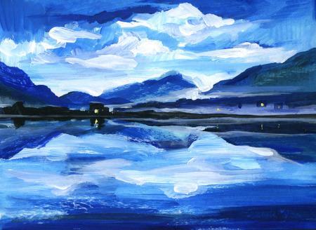 Original Oil Painting of the twilight on mountain lake. Altai