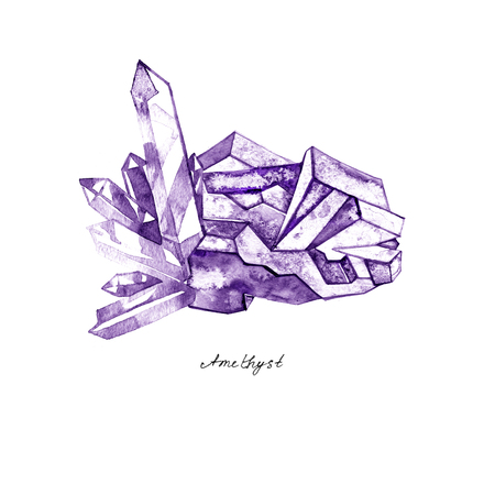 Watercolor purple crystal amethyst cluster hand drawn painting illustration isolated on white background tanzanit gem stones for design fashion advertising, geological , scrapbook, jewelry store