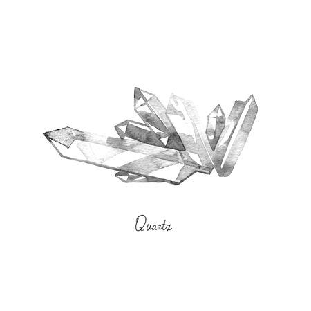Hand getekende aquarelkristallen Quartz geïsoleerd op een witte achtergrond