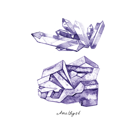crystal background: Watercolor purple crystal amethyst cluster hand drawn painting illustration isolated on white background tanzanit gem stones for design fashion advertising, geological , scrapbook, jewelry store
