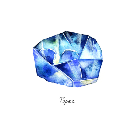 birthstone: Blue Topaz isolated on white background. Close up illustration of gems drawn by hand with watercolor. Realistic faceted stone and crystal