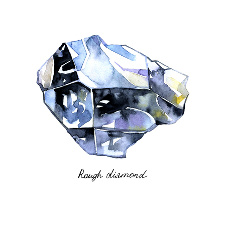 Watercolor crystal rough diamond painted isolated background on white