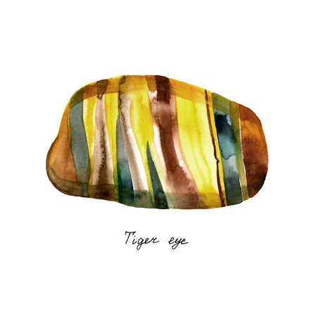 Watercolor natural mineral gem stone - Tigers eye - Tiger eye gemstone isolated on white background.