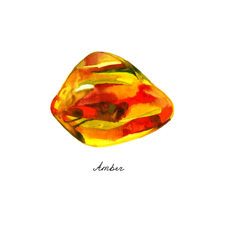 Yellow amber gemstone isolated watercolor. Crystal mineral illustration on white background.