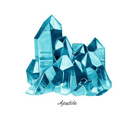 Watercolor illustration of diamond crystals. Blue Apatite on white. Stock Photo