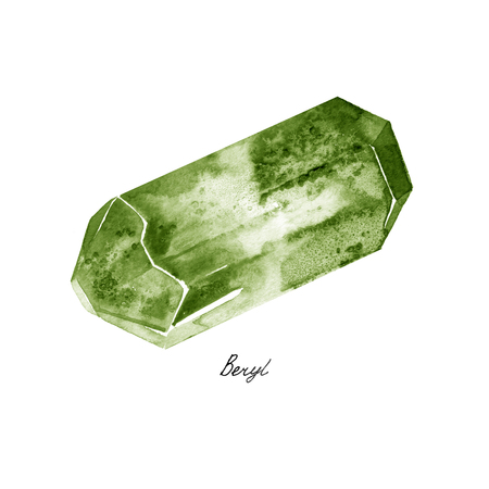 Watercolor Green Beryl rough gem tumblestones isolated on a white background Stock Photo