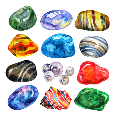 Watercolor semiprecious stones set. Bright watercolor multicolored crystal stones gems on white background.