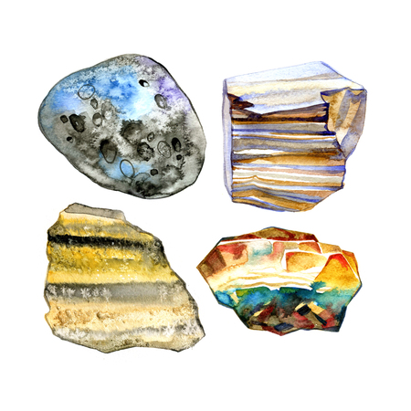 Collection of watercolor stones, illustration on white background. Stock Photo