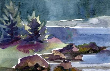 A beautiful landscape near a lake. Created on textured paper with watercolor. Banco de Imagens