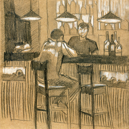 Modern interior illustration. Beer Bar, cafe. Hand drawn, sketch. Stock Photo