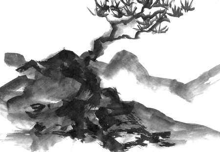 sumi e: Landscape with mountains and trees, hand drawn with ink. Traditional Japanese ink painting sumi-e. Stock Photo
