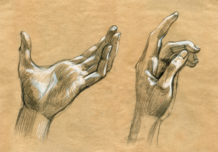 Praying Hands drawing illustration realistic sketch on