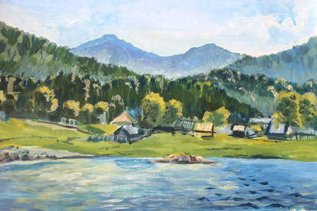 Summer scene of landscapes with river and village, this is oil painting