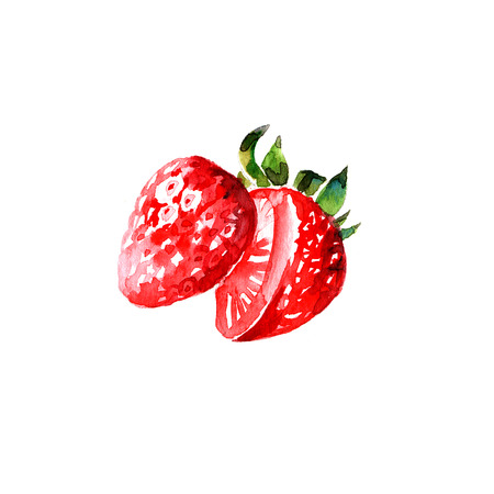 ripe: Watercolor summer red sweet strawberry
