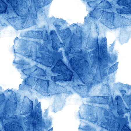 tough: Watercolor seamless pattern blue brush strokes background design isolated Stock Photo