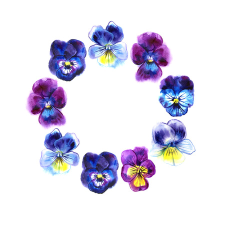 Boarder with hand drawn pansy flowers. Purple, violet, yellow. Retro background with romantic flowers.Perfect frame for wedding and birthday cards, invitations