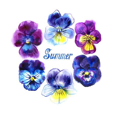 手との境目には、パンジーの花が描かれています。パープル、バイオレット、イエロー。カードのフレーム。夏の文字
