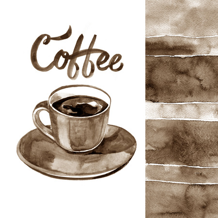 Hand painted watercolor illustration with cup of espresso